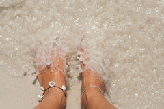 Woman's Bare Feet on the beach. Royalty Free Stock Images