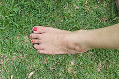 Woman's bare foot in grass. Barefoot, foot toe grass green bright close-up countryside lawn leg woman nature outdoor park parkland part of, posing standing sun Royalty Free Stock Photography