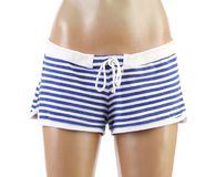 Woman's beach shorts on mannequin. Front. Royalty Free Stock Photos