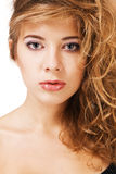 Woman's beautiful face closeup portrait Stock Photos