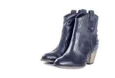 Woman's Black Leather Cowboy Boots #2 Stock Photos