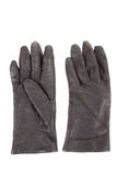Woman's black leather gloves Stock Photo