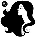 Woman`s black silhouette. Vector fashion portrait. Black and white silhouette Royalty Free Stock Photos
