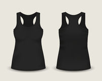 Woman`s black sleeveless tank top in front and back views. Vector illustration with realistic male shirt template. Stock Photo