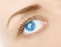 Woman`s blue eye in studio Royalty Free Stock Photography