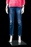 Woman's blue skinny fit jeans. Royalty Free Stock Images