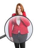 Woman's body magnified with magnifying glass Royalty Free Stock Photography