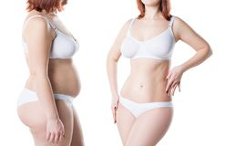 Woman`s body before and after weight loss isolated on white background royalty free stock photos