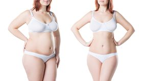 Woman`s body before and after weight loss isolated on white background royalty free stock image