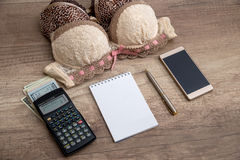 Woman's bra with money, calculator, empty notepad Royalty Free Stock Image