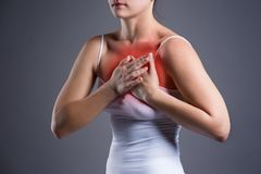 Woman`s breast test, heart attack, pain in human body royalty free stock photos