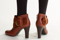 Woman's brown ankle boots. Stock Image