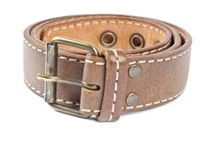 Woman's Brown Leather Belt Royalty Free Stock Images