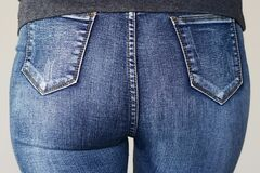Free Woman`s Butt In Slim Fit Jeans Stock Photos - 169908263