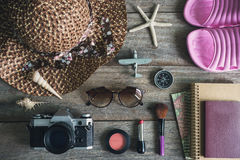 Woman's casual outfits and copy space, Travel concept Royalty Free Stock Image