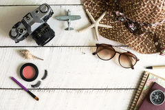 Woman's casual outfits and copy space, Travel concept Royalty Free Stock Photography