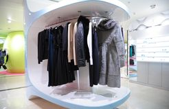 Woman`s clothes in shop Stock Photography