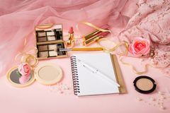 Woman`s cosmetics and diary. royalty free stock photos