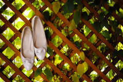 Woman's cream-colored shoes Stock Photography