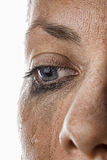 Woman's Crying Eye. Close Up Shot of a Woman Crying Royalty Free Stock Photo