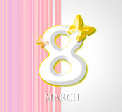 Woman's day. Background with decoration  and number and butterfly Royalty Free Stock Photography