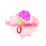Woman`s day. Background with flower and sign Stock Illustration