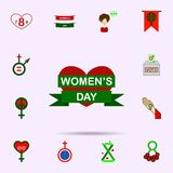 Woman s day, heart, ribbon color icon. Universal set of 8 march for website design and development, app development. On color background vector illustration