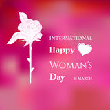 Womans Day. March 8 Womens Day card with roses on pink background vector illustration