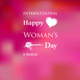 Womans Day. March 8 Womens Day card with roses on pink background royalty free illustration
