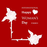 Womans Day. March 8 Womens Day card with roses on red background vector illustration