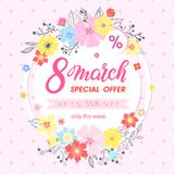 Woman`s Day promotion. Hand painted lettering with different flowers and floral elements.Sale season card perfect for flyers,posters, sale banners,brochures Royalty Free Stock Photo