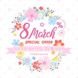 Woman`s Day promotion. Hand painted lettering with different flowers and floral elements.Sale season card perfect for flyers,posters, sale banners,brochures Stock Photos