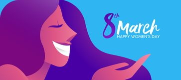 Woman`s Day 8th march happy woman banner design. Happy Women`s Day 8th March illustration, beautiful girl face smiling with celebration text quote. Horizontal royalty free illustration