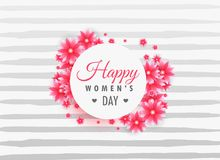 Woman`s day 8th march lettering on beautiful flowers Stock Photo