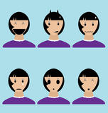 Womans Emotion Icons in Vector Stock Image