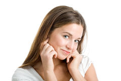 Woman's enigmatic smile Stock Photo