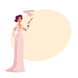 Woman in 1920s evening dress and gloves with cigarette holder. Woman in 1920s evening dress and gloves with a cigarette holder, cartoon vector illustration on Stock Photography