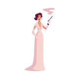 Woman in 1920s evening dress and gloves with cigarette holder. Woman in 1920s evening dress and gloves with a cigarette holder, cartoon vector illustration Royalty Free Stock Photo