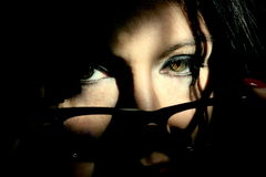 Woman's eye. Elegant woman with glasses blacks Stock Photo