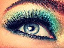 Woman's eye with green eye make-up. Long eyelashes Stock Images