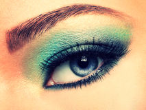 Woman's eye with green eye make-up. Royalty Free Stock Image
