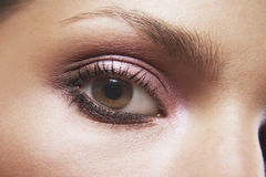 Woman's Eye With Pink Eyeshadow Stock Images