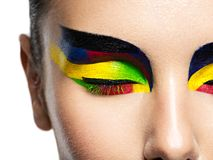 Free Woman`s Eye With Vivid Colors Makeup Royalty Free Stock Photography - 157548067