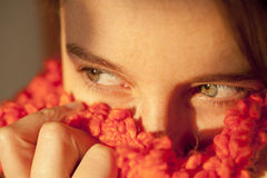 Woman´s eyes. Close shot of a woman´s face, with a special focus on her eyes Royalty Free Stock Photography