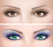 Woman's eyes with colorful evening make-up Stock Images