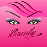 The woman`s eyes with perfectly shaped eyebrows and full lashes with intense make-up vector illustration