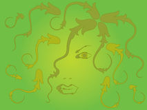 Woman's face. The girl's face is realizing the planting branch against a green background royalty free illustration