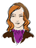 Woman's face. Hand-drawn fashion model. Vector illustration. Woman's face Royalty Free Stock Photography