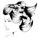 Woman's face. Hand-drawn fashion model. Vector illustration. Woman's face Stock Images