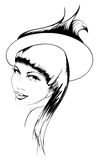 Woman's face. Hand-drawn fashion model. Vector illustration. Woman's face Royalty Free Stock Image
